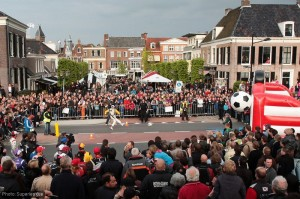 Craig Dolby shoots for goal as the drivers entertain locals in Assen