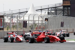Eng leads Stoneman and Jokinen in race two (Credit: Sutton/F2)