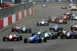 Esteban Gutierrez leads at the start