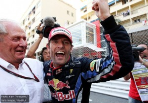 Helmut Marko and Mark Webber celebrate the Red Bull 1-2