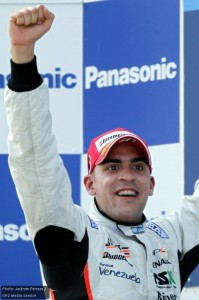 Maldonado celebrates his first win of the season
