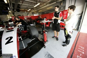 In the ART garages during GP2 testing