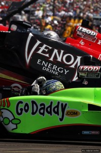 Mike Conway (green Go Daddy car) marked his return from injury with another scary accident