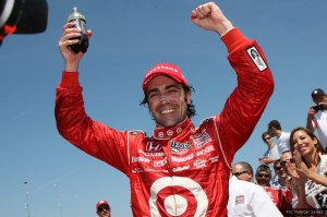 Defending champion Dario Franchitti enjoys the sunny feeling of success at St Petersburg