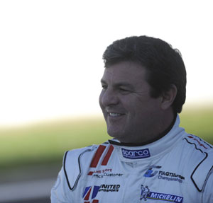 Racing driver Mark Blundell trackside