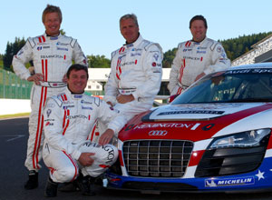 Blundell with United Autosport team-mates at the 24 Hours of Spa