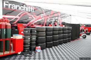 Dario Franchitti's wall of tyres