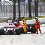Marco Andretti (in black) ruined Sebastien Bourdais' day