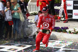 New championship leader Dario Franchitti lets fly