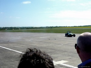 Kovalainen performed some crowd-pleasing donuts in a Caterham 7
