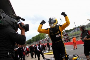 Jack Clarke celebrates his debut victory