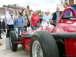 Letchworth shoppers admire Fangio's race-winning Maserati