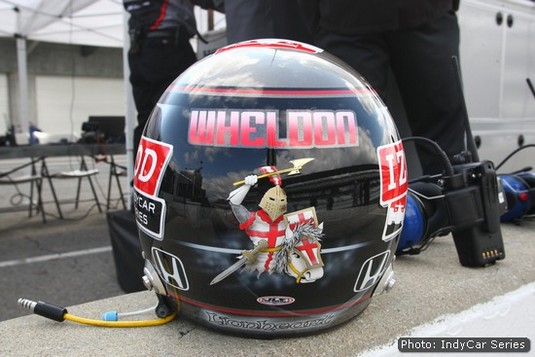 Richard the Lionheart was a constant fixture on Wheldon's ever-changing helmets