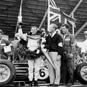 Jim Clark and Colin Chapman after winning the 1963 British Grand Prix