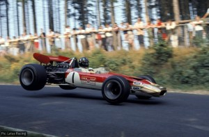 Graham Hill in the Lotus 49B Cosworth at the Nurburgring, 1969