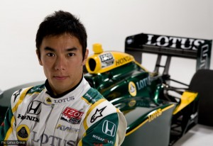 Sato at the Lotus/Cosworth IndyCar launch