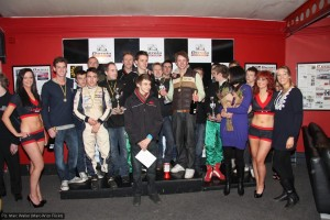Organisers and winners on a very crowded podium