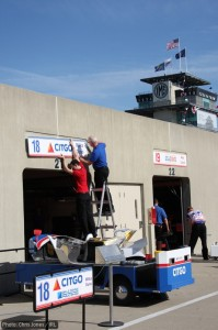 Setting up the garages for Dale Coyne Racing's Milka Duno and Alex Lloyd