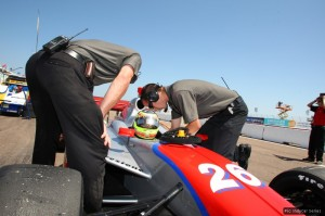 Winslow prepares to go out on track