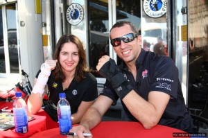 Team-mates Beatriz and Wilson raced with injured wrists