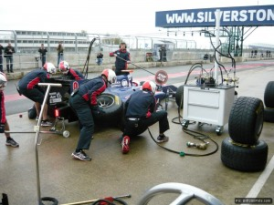iSport's Sam Bird and his crew practice a pitstop