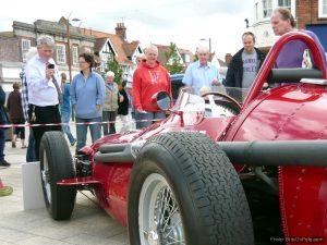 Letchworth shoppers admire Fangio's race-winning Maserati
